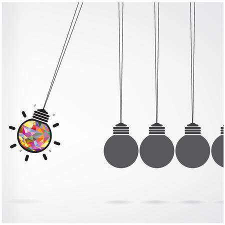Newton law,creative light bulb Idea concept background Vector