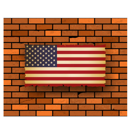 stated: United Stated flag on bricks wall  vector illustration Illustration