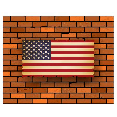 united stated: United Stated flag on bricks wall  vector illustration Illustration