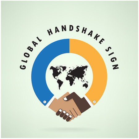 Handshake abstract sign vector design template  Business creative concept vector illustration contains gradient mesh