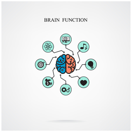Concept of brain function for education and science, business sign.Vector illustration Vector