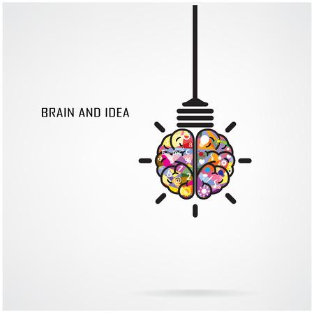 창조적 인 두뇌 아이디어와 전구 개념, 포스터 전단지 커버 브로셔, 사업 아이디어에 대 한 디자인, 교육 개념입니다 그림