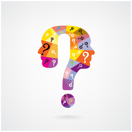unsolvable: colorful question mark man head symbol. Vector illustration  Illustration