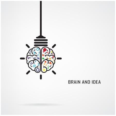 Creative brain Idea and light bulb concept, design for poster flyer cover brochure, business idea, education concept. Illustration