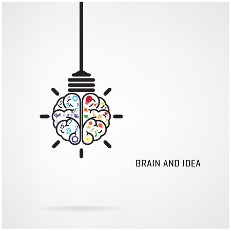 Creative brain Idea and light bulb concept, design for poster flyer cover brochure, business idea, education concept. Vectores