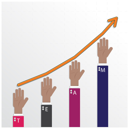 hands of businessman with graph increase on background ,teamwork concept,business sign. Stock Vector - 30047004