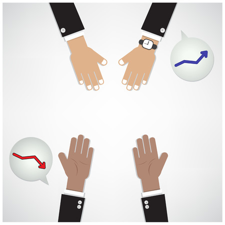 hands of businessman with graph increase on background ,teamwork concept,business sign. Stock Vector - 30047005