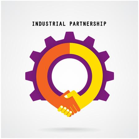 創造的な握手サインとポスター チラシ カバー パンフレット、ビジネス アイデア、産業の記号のデザイン産業のアイデア概念背景背景ベクトル イラ