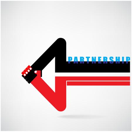 Creative arrow sign and handshake abstract design symbol  Business concept Partnership symbol vector illustration Vector