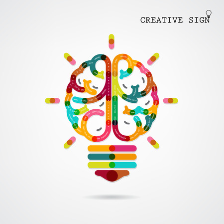 conceptual bulb: Creative infographics left and right brain function ideas on background,design for poster,flyer,cover, brochure,diagram or presentation template,education concept ,business idea Vector illustration Illustration