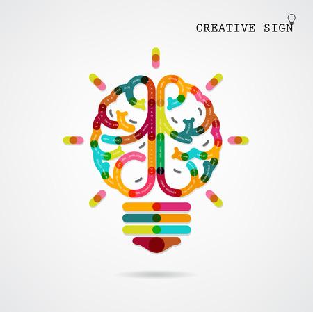 pensamiento creativo: Infografía izquierda creativa y las ideas de la función cerebral derecho en el fondo, diseño de carteles, volantes, cubierta, folleto, diagrama o plantilla de presentación, el concepto de educación, negocios idea ilustración vectorial