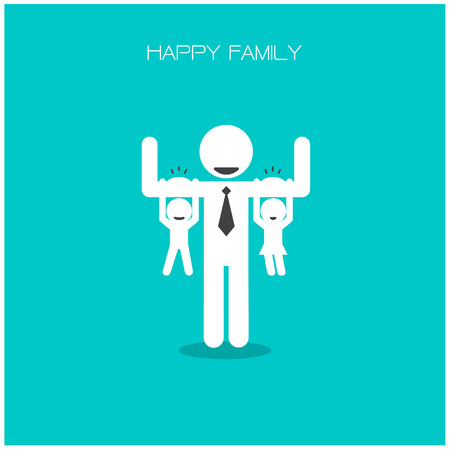 happy family having fun,daughter and son hang on daddy s arms,father s day concept,happy father s day background.vector illustration Ilustração