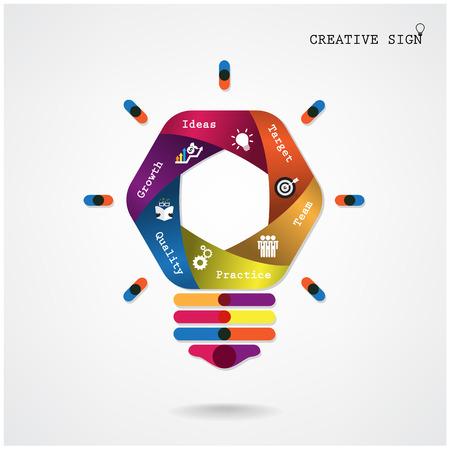 Creative ampoule de lumière Idea concept de fond, la conception de la brochure de couverture affiche flyer, idée d'entreprise, de l'éducation background.Vector illustration Banque d'images - 30712961