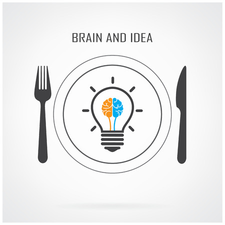 create idea: Creative light bulb  idea and brain concept background ,business concept.Vector illustration