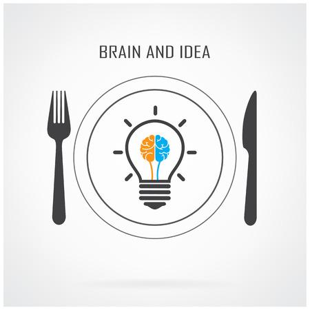 mente: Idea bombilla creativa y concepto de fondo del cerebro, ilustraci�n concept.Vector negocio