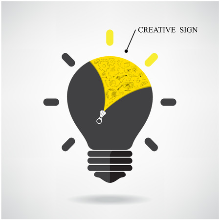 lamp outline: Creative light bulb Idea concept with doodle hand drawn sign. Can be used for workflow, layout, banner, diagram, web design, poster, flyer, cover, brochure or printing. Business idea ,abstract background. Vector illustration  Illustration