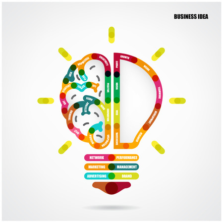 Creative light bulb concept with business idea background, design for poster, flyer, cover, brochure, abstract background. Vector illustration Vector