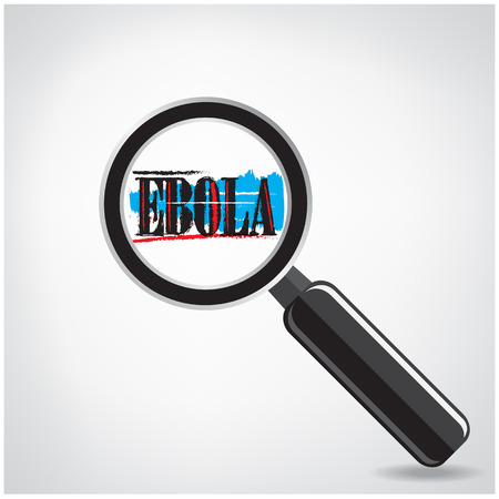 outbreak: Ebola searching sign or magnifying glass symbol on background, vector illustration