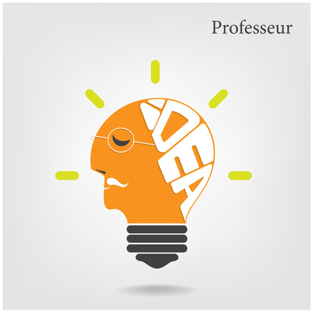 Professeur or old scientist sign.Creative light bulb and education or business idea concepts .Vector illustration. Vector