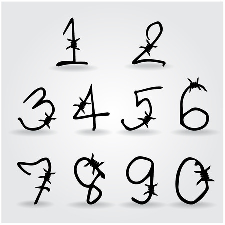 barbwire: number alphabet barbwire font style. Vector illustration.
