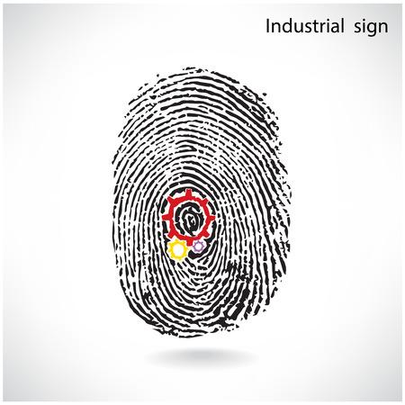 Creative gear idea concept with fingerprint symbol .Industrial sign , business ideas .Vector illustration. Vector