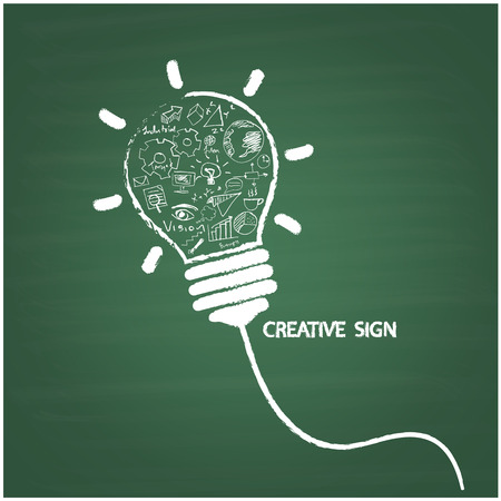Creative light bulb handwriting style on blackboard with business idea concept, education concept. Vector illustration Vector