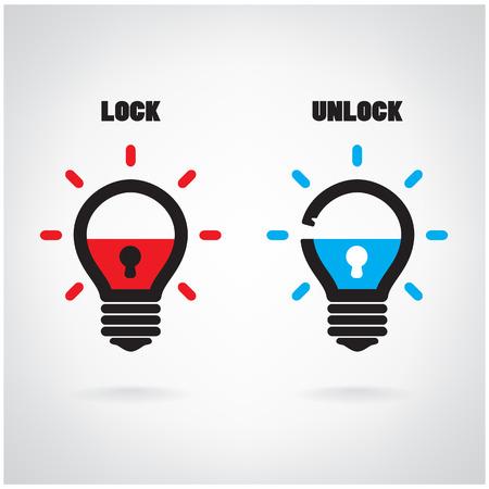 Creative light bulb idea concept with padlock symbol. Security sign , business ideas .Vector illustration. Vector