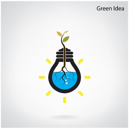 Green and initiative concept. Tree of green idea shoot grow in a light bulb . Vector illustration Vector