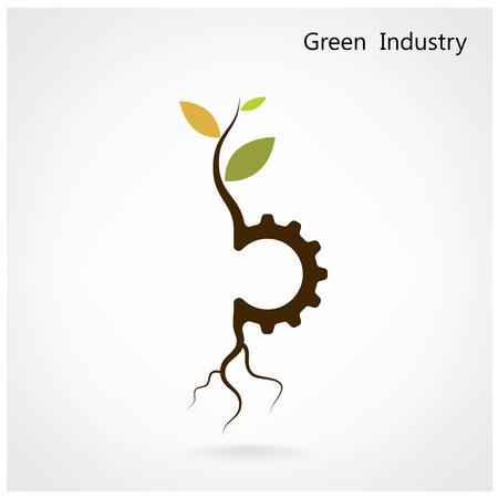 グリーン産業の概念。小さな植物とギア シンボル、ビジネス、グリーン考え、教育概念。ベクトル イラスト。