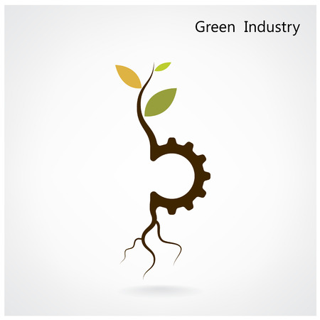 agriculture machinery: Green industry concept. Small plant and gear symbol, business and green idea, education concept. Vector illustration.
