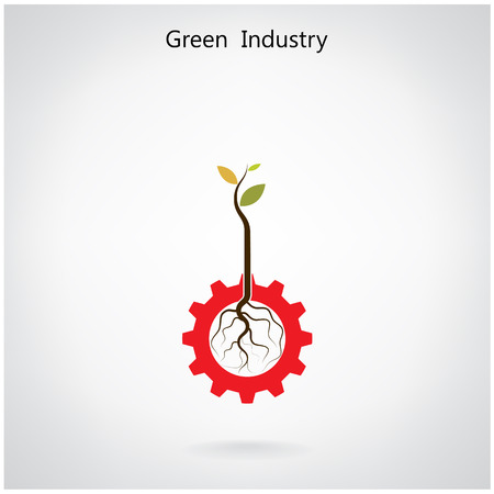 Green industry concept. Small plant and gear symbol, business and green idea, education concept. Vector illustration. Vector