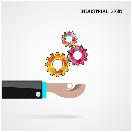 Geometric gears with businessman hand on background, industrial sign, business concept . Vector illustration Vector
