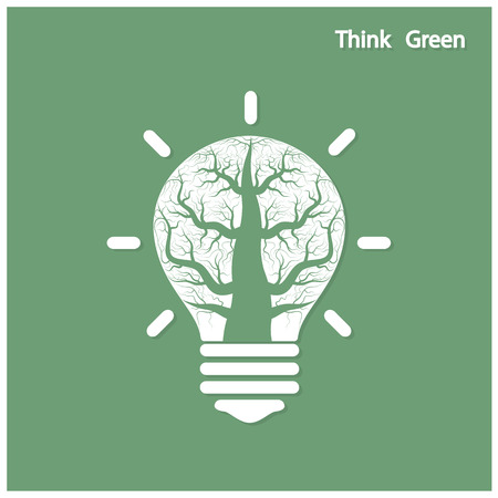 initiative: Green and initiative concept. Tree of green idea shoot grow in a light bulb . Vector illustration