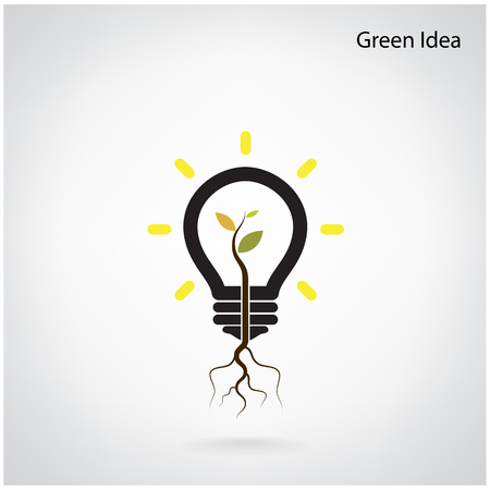 Green and initiative concept. Tree of green idea shoot grow in a light bulb. Vector illustration Vector