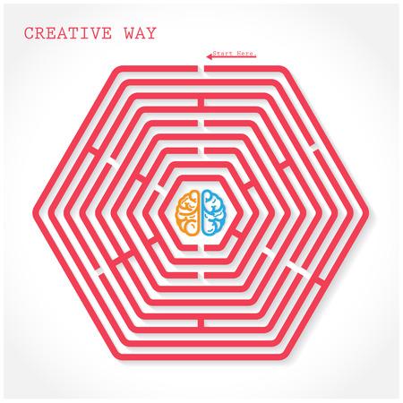 Creative hexagon maze way concept. Creative brain symbol  in the middle of hexagonal maze, education sign , business ideas .Vector illustration. Vector