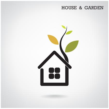 Green energy home concept ,house and garden symbol. Vector illustration Vector