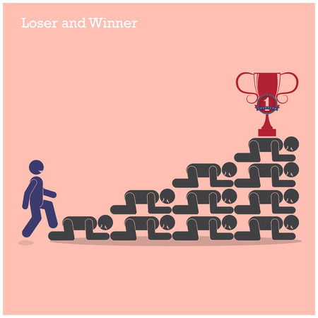 unfairness: Winner walk over stairs of loser concept. Competition concept, business idea. Vector illustration