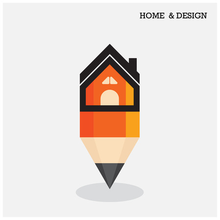 Home icon and pencil symbol in flat design style.  Vector illustration Vector