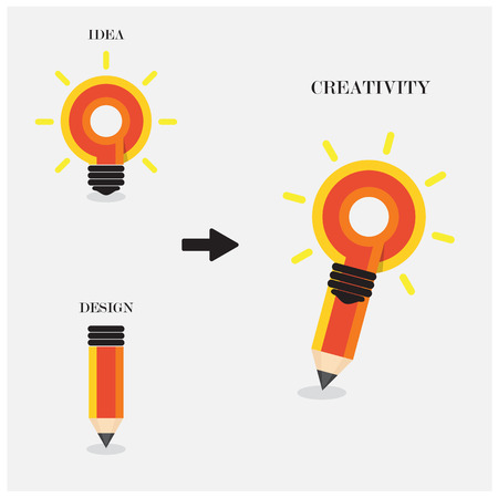 pencil symbol: Creative pencil and light bulb design. Flat design style modern concept. vector illustration