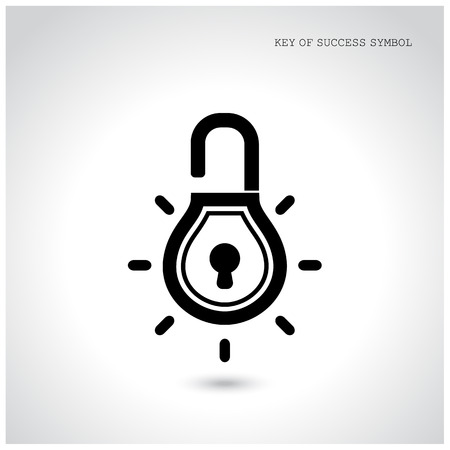 lock icon: Creative light bulb idea concept with padlock symbol. Security sign , business ideas .Vector illustration.