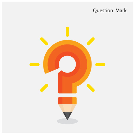 Pencil question mark on background. Education concept. Vector illustration Vector