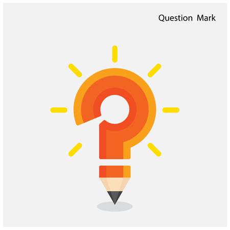 mark pen: Pencil question mark on background. Education concept. Vector illustration