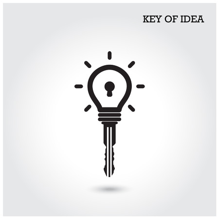 latch: Creative light bulb idea concept with padlock symbol. Key of idea. Business ideas.Vector illustration.