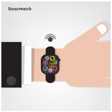 Smartwatch on  businessman hand  and internets connection sign. Vector illustration Vector