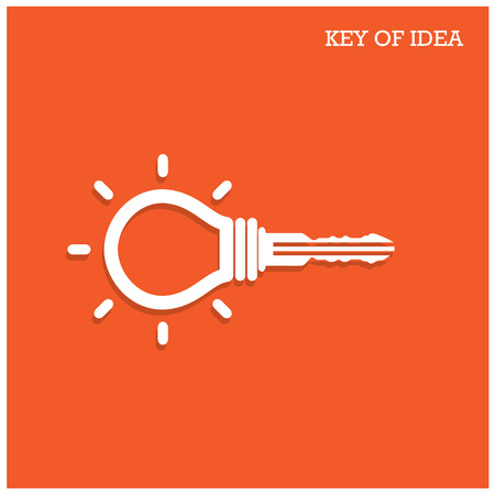Creative light bulb idea concept with padlock symbol. Key of idea. Business ideas. Vector
