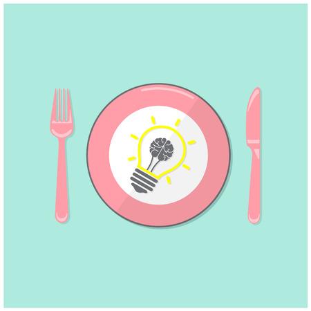 pensamiento creativo: Idea creativa bombilla y del concepto del fondo del cerebro, concepto de negocio.