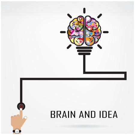 Idée créative du cerveau et le concept de l'ampoule, la conception de la brochure de couverture affiche flyer, idée d'entreprise, l'éducation concept.vector illustration Banque d'images - 32520790