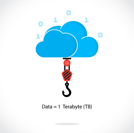 Flat cloud technology computing background concept. Data storage network sever internet technology. Multimedia content and web sites hosting.Social networking and design template.Technology data transfer idea. Vector illustration