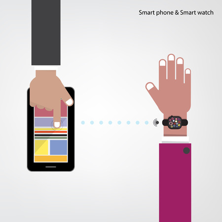 Smart watch and smart phoneon background with internets connection sign.  Vector