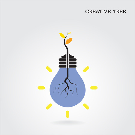 Creative and knowledge tree concept. Education and business sign.  Vector